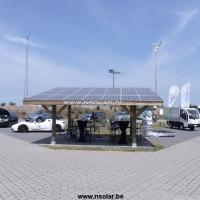 Carport met zonnepanelen + oplaadpunt 3.78kwp wetenschapspark oostende