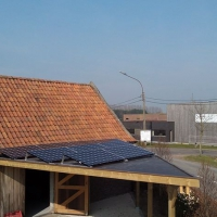 zonnecarport driehoek 9x LG Neon